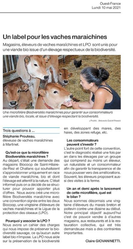 Article Ouest France du 10 mai 2021