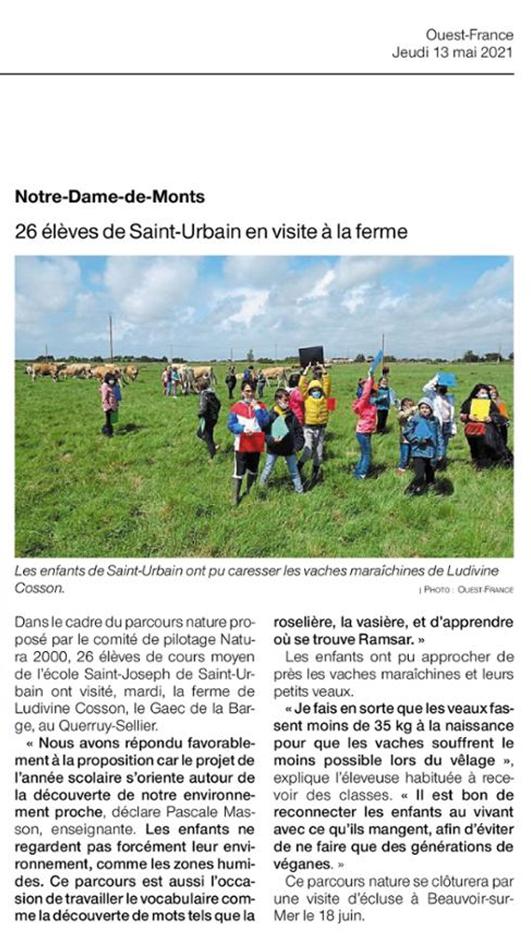 Article de presse du journal ouest france sur la visite d'élèves de st hurbain dans une ferme